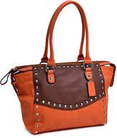 Dasein Orange & Brown Studded Satchel