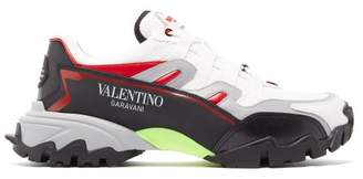 Valentino Climbers Leather And Mesh Trainers - Mens - White Black