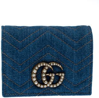 Gucci Blue Matelasse Denim GG Pearl Marmont Compact Wallet