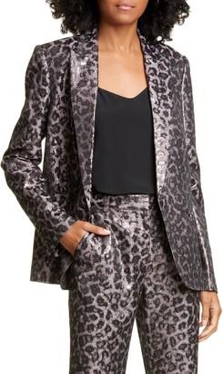 Tanya Taylor Analiese Leopard Print Metallic Blazer