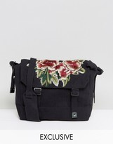 Reclaimed Vintage Inspired Messenger Bag In Black With Floral Patch