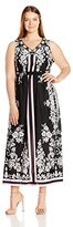 Notations Women's Plus Size Printed Sleeveless Maxi with Beaded Neck Trim