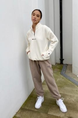 Champion Ecru Quarter-Zip Sweatshirt - White XS at Urban Outfitters