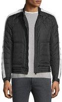 Moncler Goya Quilted-Sleeve Biker Jacket, Black/White