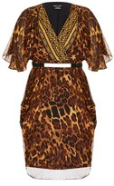 City Chic Leopard Wrap Dress