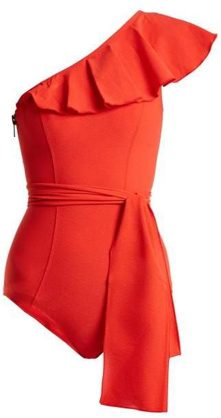 Lisa Marie Fernandez Arden Ruffle Trimmed Tie Waist Swimsuit - Womens - Red