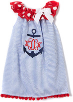 Blue & White Stripe Monogram Priscilla Dress - Infant & Toddler