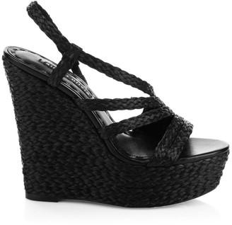 Alice + Olivia Tenley Raffia & Leather Platform Wedge Sandals