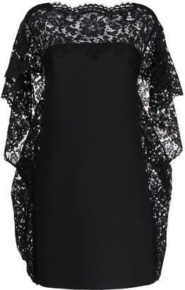 Valentino Cape-Style Lace-Embellished Dress