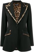 Dolce & Gabbana leopard print trim fitted blazer