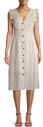 Time and Tru Women's Flutter Sleeve Button Dress