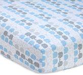 Zutano Elefant Blau Striped Fitted Crib Sheet
