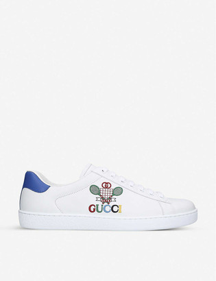 Gucci New Ace tennis-embroidered leather low-top trainers