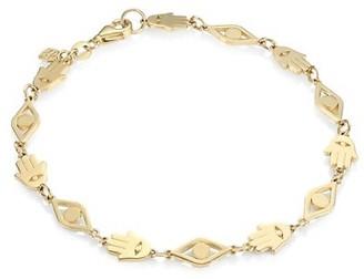 Sydney Evan 14K Yellow Gold Hamsa & Evil Eye Link Bracelet