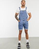 Asos Design DESIGN denim overall shorts in mid wash