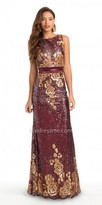 Camille La Vie Sequin Floral Evening Dress