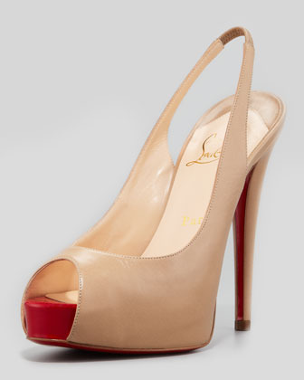 Christian Louboutin Vendome Leather Red Sole Slingback, Beige