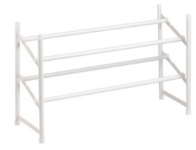 Honey-Can-Do 2-tier Expandable Shoe Rack, White
