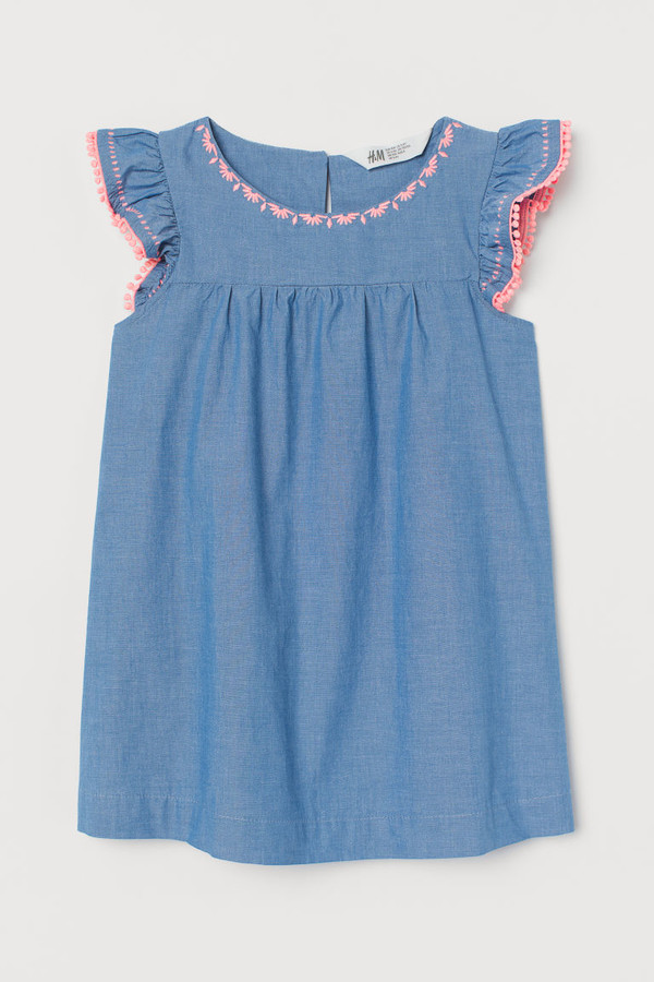 H&M Empire-waist Cotton Dress - Blue