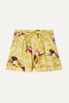 Eres Calao Printed Silk-satin Pajama Shorts - Sage green