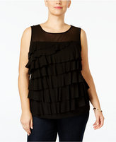 INC International Concepts Plus Size Ruffled Illusion Top, Only at Macy's