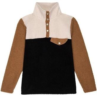 DONNI Tri-Color Mini Teddy Pullover Sweater