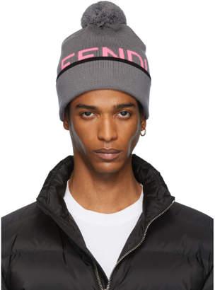 Fendi Grey Wool Logo Pom Pom Beanie