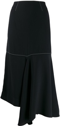 Marni Crepe Envers Satin Asymmetric Skirt