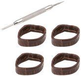 Adebena Replacement Watch Loops leather Loops Rubber Loops 4 pieces,Black/Brown
