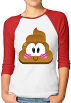 Hilary Hardy Hilary Women's Penguin Poop Emoticon Baseball Raglan Jersey T-Shirts 3/4-Sleeve XXL