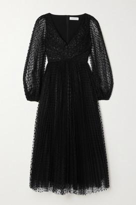 Zimmermann Charm Pleated Polka-dot Flocked Tulle Midi Dress - Black