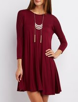 Charlotte Russe Dropped Shoulder Trapeze Shift Dress