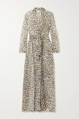 Marios Schwab Marigot Leopard-print Cotton-voile Robe - Leopard print