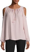 Elie Tahari Cathy Cold-Shoulder Silk Blouse, Pink