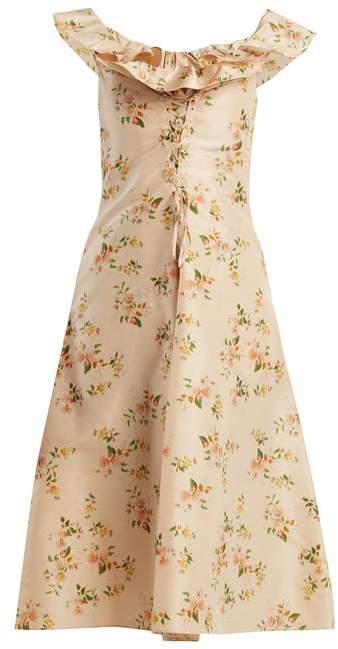 Brock Collection Dawn Off The Shoulder Silk Taffeta Dress - Womens - Beige Print