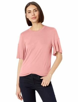 Lark & Ro Amazon Brand Women's Crew Neck Flutter Sleeve Knit Top