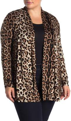 Bobeau Ruched Sleeve Leopard Print Knit Cardigan (Plus Size)