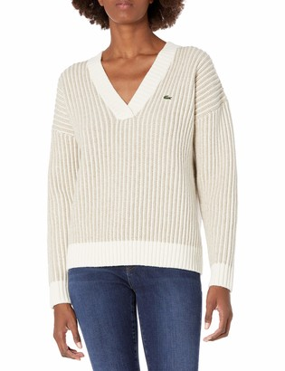 Lacoste Women's Long Sleeve 2x2 Stitch Wool V-Neck Sweater