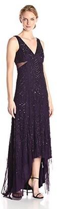 Adrianna Papell Women's Sleeveless V-Neck Long Beaded Gown