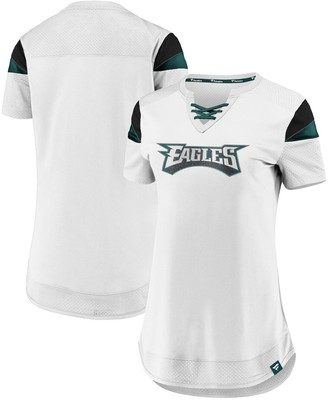 Women's NFL Pro Line by Fanatics Branded White Philadelphia Eagles Draft Me Lace-Up T-Shirt