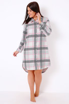 Yours Clothing Grey, Pink & White Checked Longline Nightshirt