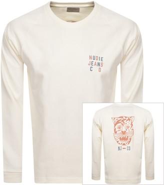 Nudie Jeans Bodie Long Sleeved T Shirt Cream