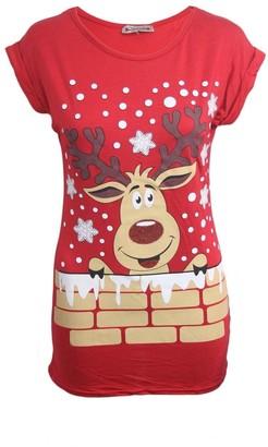 malaika fashions Women Ladies Christmas Glitter Rudolph Print T Shirts Festive Novelty Xmas Tops (S/M (UK Size 8-10)