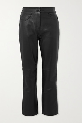 Stand Studio Avery Cropped Straight-leg Leather Pants - Black