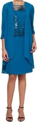 Le Bos Women's Duster Lace Embellished Jacket Dress