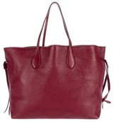 Rochas Scalloped Trimmed Leather Tote