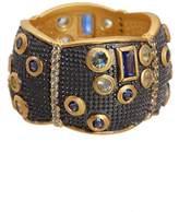 Freida Rothman Bezel Set CZ & Multigrain Trim Scallop Shape Cigar Ring - Size 9