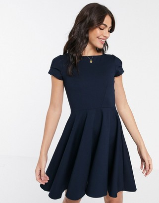 Closet London Closet short sleeve skater dress in navy