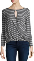 Velvet Amaryliss Striped Blouson Top, Charcoal/Heath