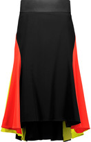 Milly Color-block crepe skirt